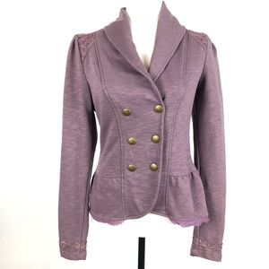 Soft Lilac Blazer with Lace Details
